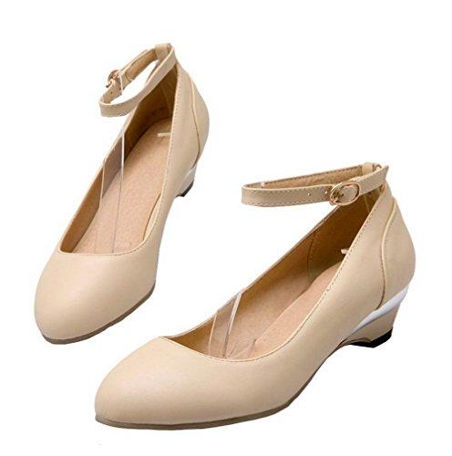 AgeeMi Shoes Damen Schnalle PU Niedriger Absatz Rein Pumps Schuhe Cremefarben