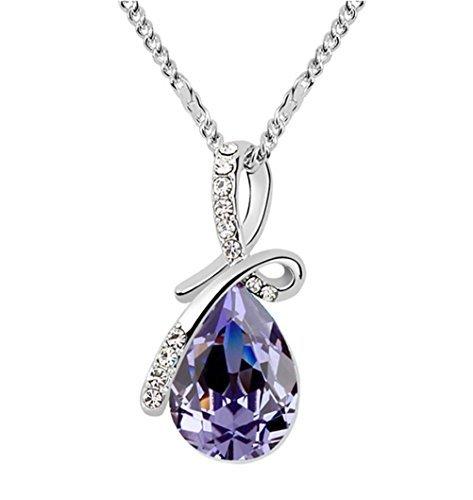 (Gold Plated Small Size Swarovski Crystal Elements Eternal Love Teardrop Pendant Necklace Fashion Jewelry for Women (Amethyst Purple))