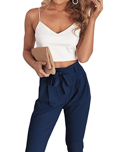 FANCYINN Women 2 Pieces Outfit Spaghetti Strap Top and Bodycon Long Pant With Belt Navy Blue S (Woman Outfits For Summer)