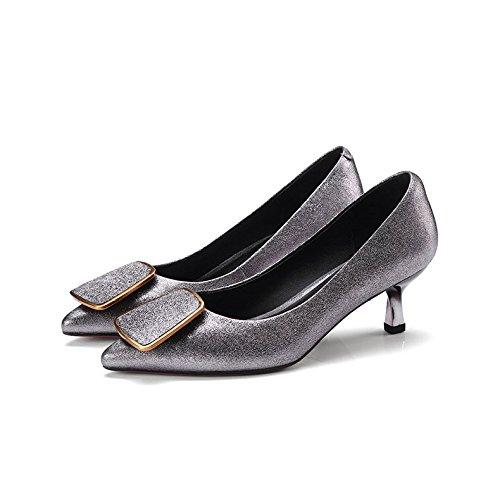 Chaussures Fashion Véritable Femmes Chaussures Basses Joker Simples Chaussures Grey pour Shallow Tip Cuir DKFJKI pour Femmes azOIwI