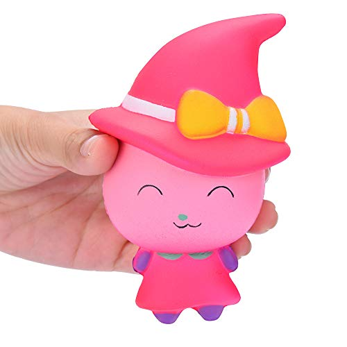 Ulanda Soft Squishies New Halloween Witch Magic Girl Squeeze Toy Slow Rising Cream Scented Stress Reliever Toy (Pink) -