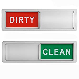 Dishwasher Magnet Clean Dirty Sign Shutter Only Changes When You Push It Non-Scratching Strong Magnet or 3M Adhesive Options Indicator Tells Whether Dishes Are Clean or Dirty (Silver)