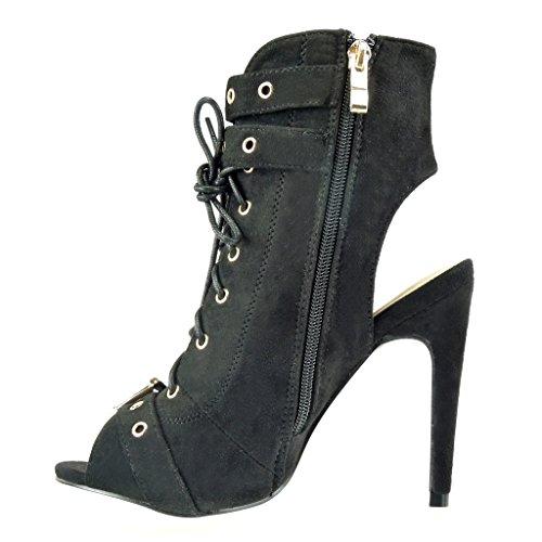 Angkorly - Zapatillas de Moda Botines Sandalias stiletto abierto mujer Hebilla metálico Talón Tacón de aguja alto 12 CM - Negro