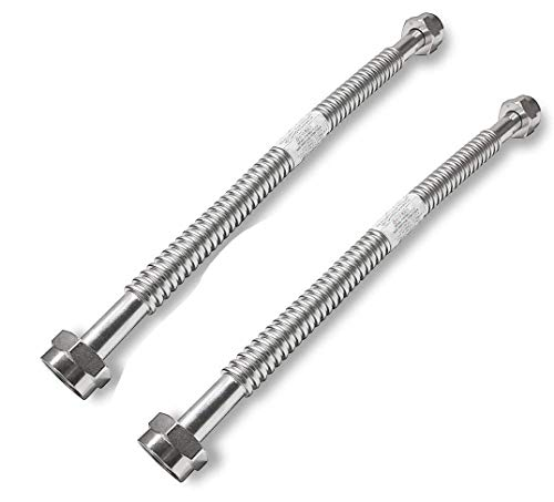 2 Pack Heavy Duty Durable Stainless Steel Corrugated Water Flex Connector with Extra Thick Washers for Water Heater and Water Softener (24x1 FIP) (Copper Flex Water Connector)