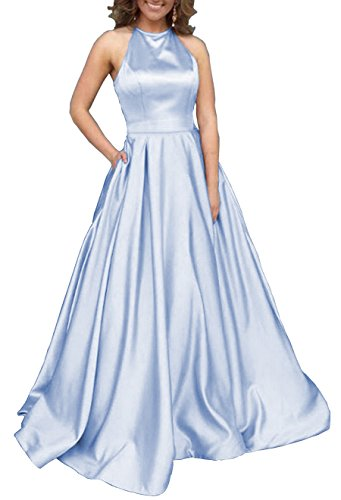 Women's Halter A-line Satin Formal Party Dress Long Evening Gown with Pockets Size 14 Ice ()