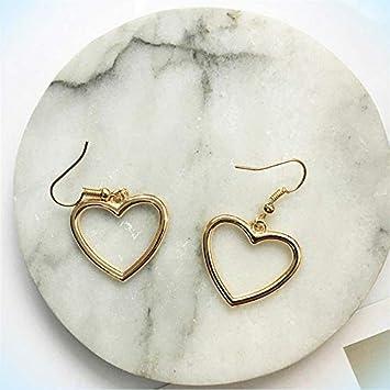 New Gold or Silver Plated Ear Womens Dangle Drop Heart Earrings Girls Pierced