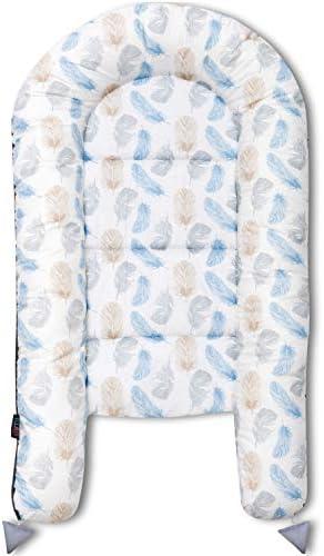 Lajlo Nid pour B/éb/é R/éducteur de Lit de Voyage Portable et Lavable Avec Attaches R/églables Lange Bebe en Coton A/ér/é et Hypoallerg/énique Lit Cocon Confortable et Doux pour Nouveau-N/é