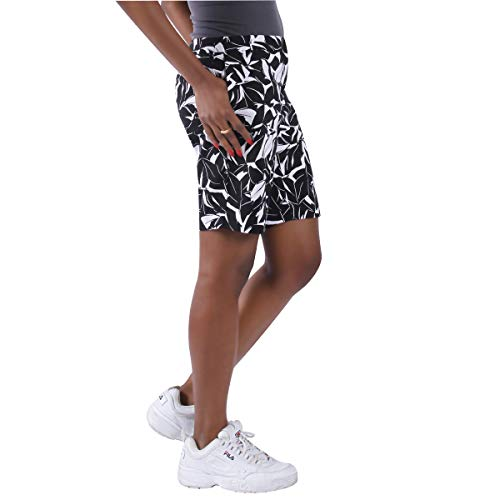 KELLY KLARK Walking Casual Shorts for Women, Black and White Leaves Size 12