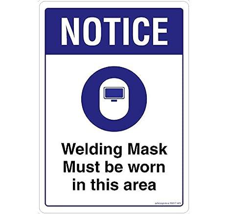 Señal de seguridad tienda Aviso para soldar Must Be Worn material adhesivo 3 M policarbonato, 0,25 mm, 1 unidades) 210 L X 297 W: Amazon.es: Oficina y ...