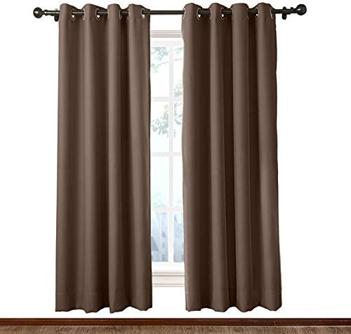 Macochico Extra Wide Indoor Chocolate Curtain Panels 150W x 96L Windproof Noise Isolation Dustproof Home Decorations Blackout Drapes Bedroom Living Room Office Library Patio Garden 1 Panel