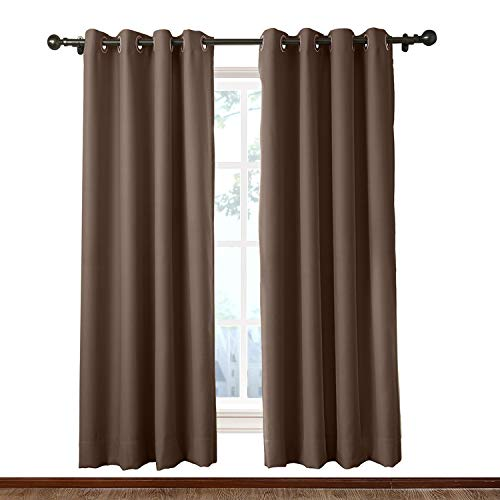 Macochico Indoor Privacy Curtains 10ft Wide x 7ft Height Antique Bronze Grommet Chocolate Divider Curtains for Bedroom Living Room Office Porch Noise Reducing Heat Insulated (1 - Dividers Office Type Room