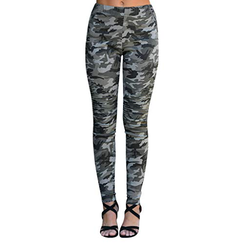 Pleated Peg - iYYVV Women Camouflage Print Pleated Pants Sports Casual Skinny Camo Trousers