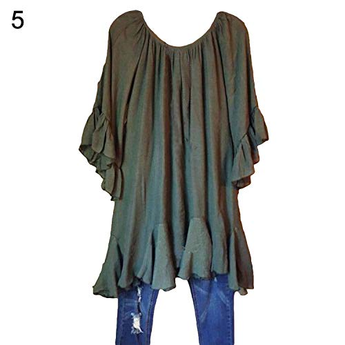 Ruffle O Neck Hollow Out Tees Fashion Short Batwing Sleeve Irregular Lace Hem Tunic Tops-in ()