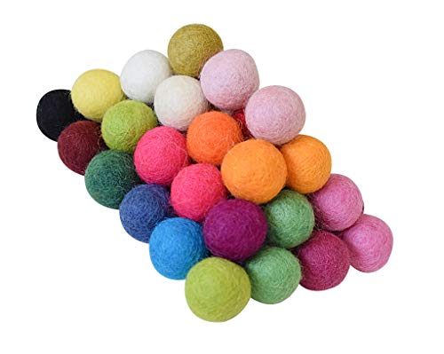 100% Wool Felt Balls - 50 Pieces | Hand-Felted Wool Pom Poms | Pure Wool Beads | Felt Ball DIY (25mm, Mixed Color)