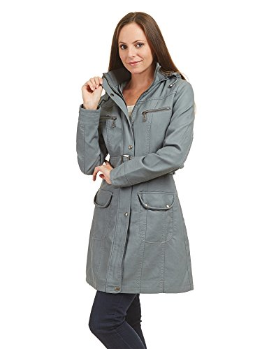 CTC WJC741 Womens Hooded Faux Leather Trench Parka Coat L GRAY (Hooded Leather Parka)