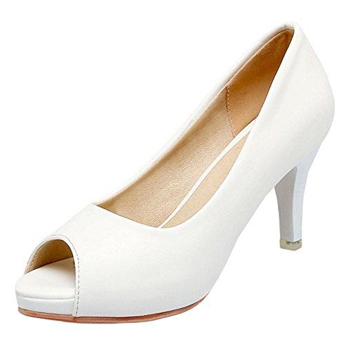 FANIMILA Mujer Moda Slip on Peep Toe Sandalias Oficina Tacon delgado Zapatos Blanco