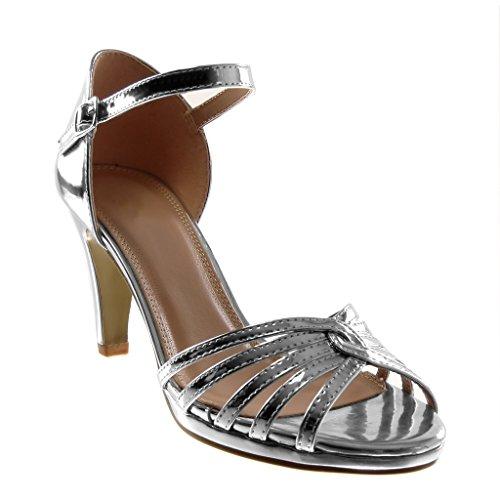 Stiletto Aiguille Angkorly Talon bride Cm Chaussure Femme 5 Sandale Cheville Argent Lanière Mode Escarpin 8 Verni Multi Haut rIHBIq