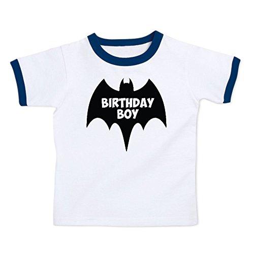 We Match! Birthday Boy Bat Superhero Super Hero Toddler & Kids Ringer (Girl Kids Ringer T-shirt)