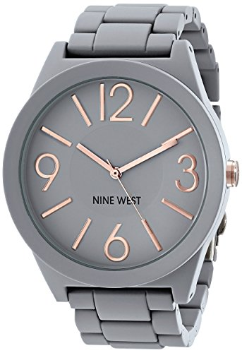Nine West Womens NW1678GYRG Gray Rubberized Watch with Link Bracelet
