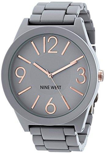 Nine West Womens NW1678GYRG Gray Rubberized Watch with Link Bracelet