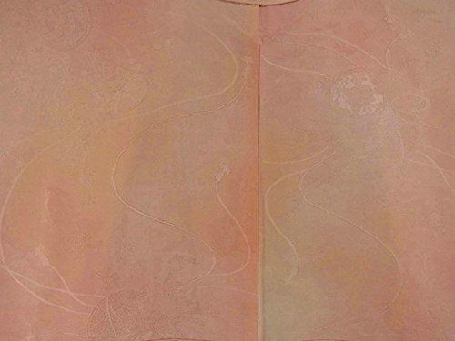 リサイクル 着物 色無地 紋なし ぼかし染め 鼓に松竹梅や四季花 正絹 袷 裄65.5cm 身丈164cm