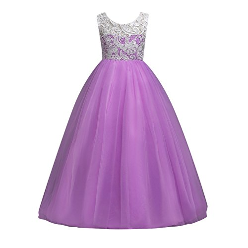 Loveble Girls Lace Princess Dress Sleeveless Formal Party Wedding Bridesmaid Tulle Dresses by Loveble