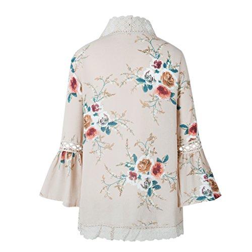 Coconut Frauen-M?dchen-Blumen-Druck-Sommer-Vertuschung Spitze Patchwork Cardigan Bluse Tops b8bLz