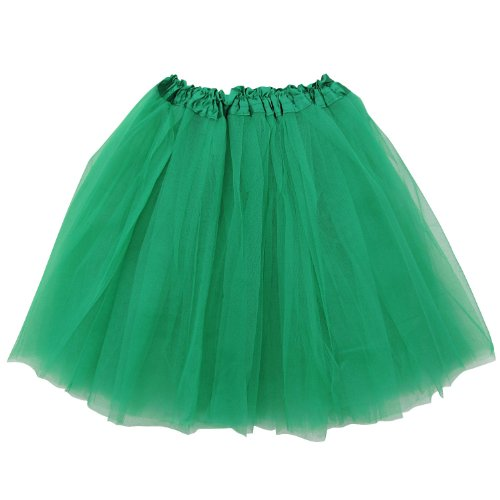 [Adult Size 3-Layer Tutu Skirt - Princess Costume Ballet Party Warrior Dash/Run (Kelly Green)] (Dance Costumes For Adults)