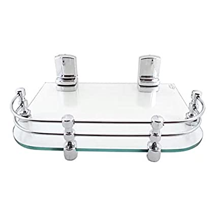 SBD Multi-Purpose Fancy Glass Shelf/Set Top Box Stand with Heavy Wall Brackets, 12x9-inch (Glossy)