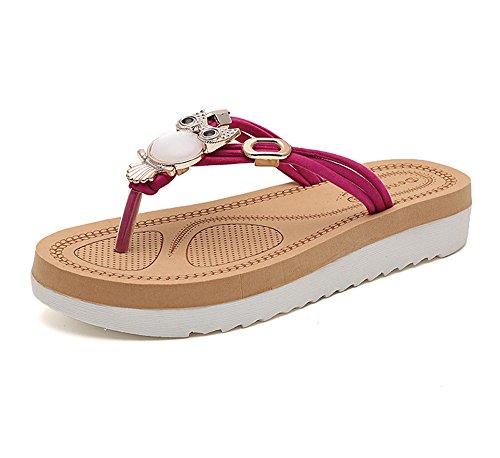 Erencook Simpatico Strass Gufo Infradito Sandali Da Spiaggia Per Donna Rosso