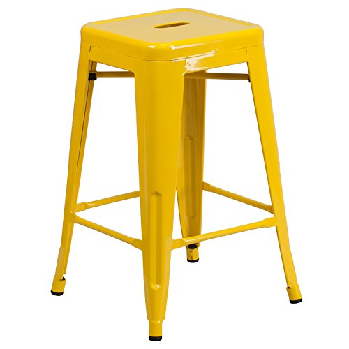"Flash Furniture CH-31320-24-YL-GG Colorful Restaurant Counter 24"" Yell No Back Metal Stool, 1 Pack, Yellow"