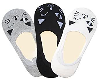 Searchself Womens Cotton No Show Liner Cat Socks 3 Pack, white black gray, One Size