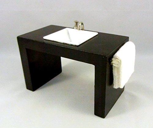 Wonham Dolls House Miniature Bathroom Furniture Modern Sink Basin in Black Unit