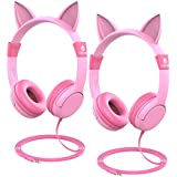 iClever HS01-2P kids headphones - Cat-Inspired On-ear Headphones for kids, 85dB Volume Control, Food Grade Silicone Lightweight Tangle-Free Cord, 3.5mm Audio Jack - Childrens Headphones, Pink - 2 Pack