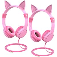 iClever kids headphones - Cat-Inspired On-ear Headphones for kids, 85dB Volume Control, Food Grade Silicone Lightweight Tangle-Free Cord, 3.5mm Audio Jack - Childrens Headphones, Pink - 2 Pack