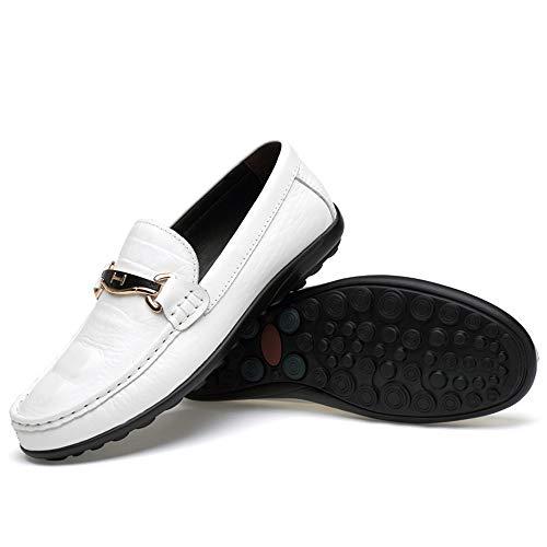 Sole Skin Color Leggero Crocodile Loafer Wider Slip Scarpe per Fitting Flat uomo Scarpe Dimensione Ofgcfbvxd Driving Heel Bianca On casual Mocassini Texure Bianca 43 Wave EU PdwR8qWx