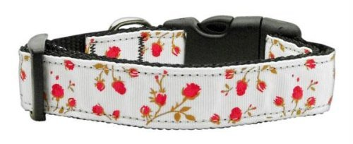 Mirage Pet Products Roses Nylon Ribbon Collar for Pets, Medium, Red