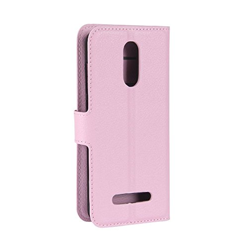 Leegoo M5 Edge Funda DISLAND [Ranura de la tarjeta] [Cobertura completa] Tirón magnético PU cuero Stand cartera teléfono cubierta de la caja para Leegoo M5 Edge,Brown Rosa