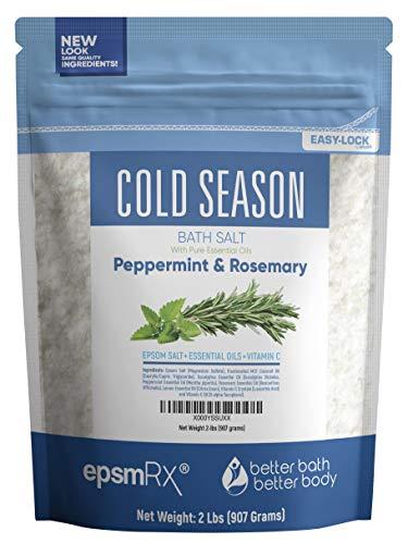 Cold Season Bath Salt 32 Ounces Epsom Salt with Rosemary, Peppermint, Eucalyptus and Lemon Essential Oils Plus Vitamin C and All Natural Ingredients