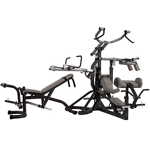 Body-Solid Free-Weight Leverage Gym with Squat Attachment and Olympic Leverage Flat Incline Decline Bench (SBL460P4) (Best Lat Exercises At Home)