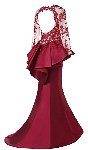 XR4701 store Rong Black Beaded Evening Rongstore Lace with Burgundy Peplum Dress gqzwFq