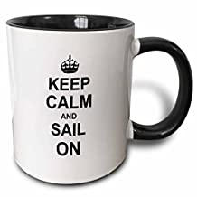 3dRose Keep Calm and Sail on Carry on Sailing Boat Ship Captain Sailor Gifts Fun Funny Humor Humorous Two Tone Black Mug, 11 oz, Black/White
