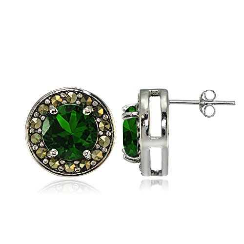 (Sterling Silver Created Emerald and Marcasite Halo Stud Earrings)