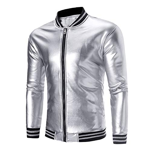 Toimothcn Mens Full-Zip Coat Solid Long Sleeve Slim Fit Baseball Uniform Jacket Sweatshirt Casual(Silver,M) (Sleeveless Baseball Uniform)