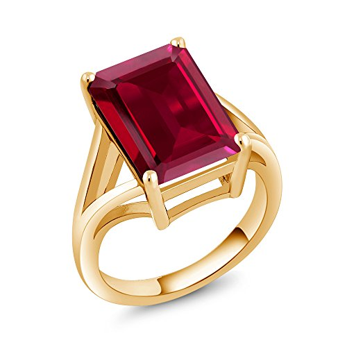 Gem Stone King Emerald Cut Created Ruby 18K Yellow Gold Plated Silver Solitaire Ring (8.00 Cttw Available 5,6,7,8,9) (Size 5)