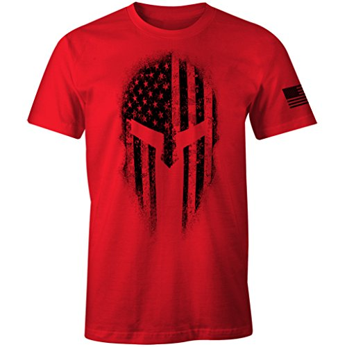 USA American Spartan Molon Labe Patriotic Men's T Shirt (Red, 3XL)
