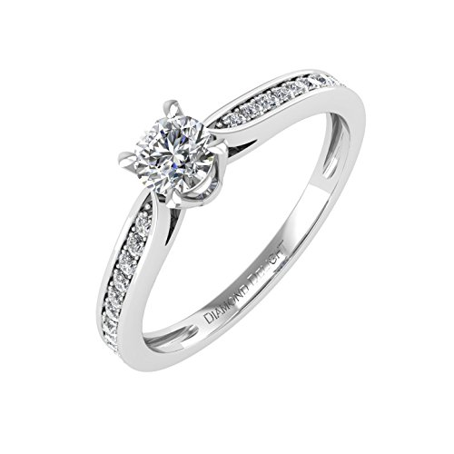 Prong Diamond Wedding Band (IGI Certified 10k White Gold Diamond Engagement Band Ring (0.27 Carat))