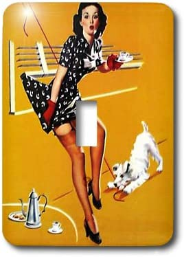 Single Toggle Switch 3dRose lsp/_182376/_1 print of elvgren painting dog tangles up pinup