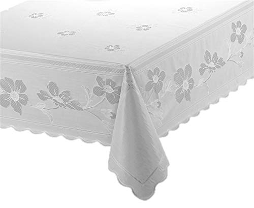 RoussoUSA White Vinyl Tablecloth Full Coverage Protection in Pretty Floral Design For Kitchen or Dining Room EZ Care: Damp Wipe or Machine Wash plus Cool Dryer Safe to Remove Wrinkles (54 x 72 inches)]()