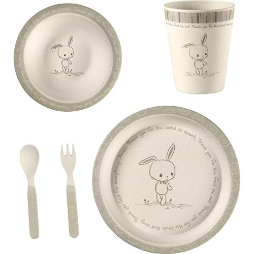 Precious Moments 182431 5 Bunny Gift Mealtime Feeding Set, One Size